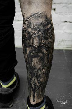 Barbarian tattoo Tattoos Bein, God Tattoos, Future Tattoos, Body Art Tattoos, Tattoos For Guys, Viking Tattoo Sleeve, Sleeve Tattoos, Hercules Tattoo, Viking Warrior Tattoos