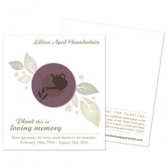 Gardener Memorial Cards Show your appreciation for a beloved gardener with these plantable memorial cards.