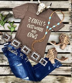 Coffee Cuss Words And Cows Tee