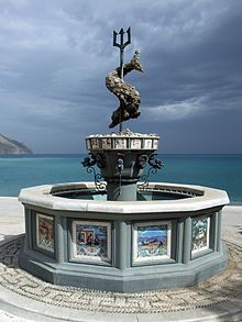 The famous fountain made by the sons of the artist Vasilis Hatzivasilis under his supervision, Diafani village, Karpathos island, Dodecanese, Greece