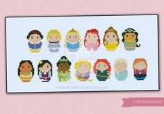 Mini People - Disney Princesses cross stitch by cloudsfactory on DeviantArt