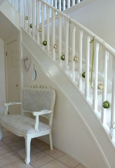 Christmas Staircase. I wish I had seen this before Christmas, doing it for sure next year; like it better than garland which is hard to wrap around.