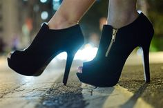 """REALLY WANT IT :: Qupid Gaze-311 Bootie  in Black :: $38 (get 10% off coupon w/ email signup)   zooshoe.com :: [5"""" heel, 1.25"""" platform. 7.25"""" shaft, 9"""" circumference] Booties have a raised platform and an easy access exposed zipper detail. Non-skid sole and cushioned footbed for walking comfort. Black Nubuck PU Synthetic upper, synthetic sole."""
