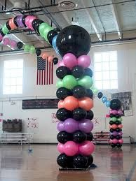 Dance floor canopy Dance Party Decorations, Prom Decor, Balloon Decorations, Party Themes, 80s Decorations, Party Ideas, Balloon Columns, Balloon Arch, Balloon Tower