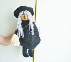 witch doll OOAK hand knit toys or decor by earflaphats on Etsy, $79.99