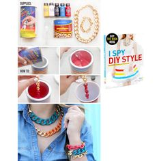 """""""DIY Necklace from I Spy DIY - bright chain jewelry"""" by musicfriend1 on Polyvore"""
