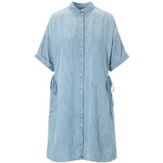 AND/OR Denim Look Shirt Dress (1.362.450 IDR) ❤ liked on Polyvore featuring dresses, maxi dresses, sleeve maxi dress, summer dresses, denim shirt dress and midi dress