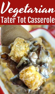 This tater tot casserole no meat recipe is great for Meatless Mondays or anytime you're craving a veggie-filled casserole! Vegetarian tater tot casserole is healthy and delicious! Grilled Chicken Recipes, Meat Recipes, Vegetarian Recipes, Fruit Recipes, Potato Recipes, Meat Meals, Vegetarian Dinners, Healthy Dinners, Tater Tot Casserole