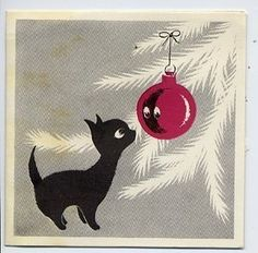 Black Cat Christmas Tree Vintage Christmas Greeting Card | eBay