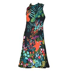 Pauline Trigere Sleeveless Floral Cocktail Day Dress ca. late 1970s/early 1980s | From a collection of rare vintage evening dresses and gowns at https://www.1stdibs.com/fashion/clothing/evening-dresses/