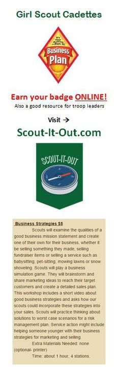 Girl Scout Cadette Business Plan badge earned ONLINE through a virtual leader at Scout-It-Out.com