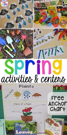 Plant Needs and Life Cycle Posters FREEBIE plus all my favorite Spring themed writing math fine motor sensory literacy and science activities for preschool pre-k and kindergarten. April Preschool, Preschool Lesson Plans, Preschool Themes, Preschool Science, Kindergarten Activities, Preschool Activities, Spring Theme For Preschool, Preschool Garden, Preschool Centers