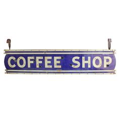1930's Double Sided Porcelain Sign Coffee Shop | From a unique collection of antique and modern signs at http://www.1stdibs.com/furniture/folk-art/signs/
