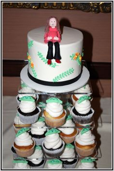 Peas in a Pod Cupcake Tower    www.acakedream.com  #babyshower