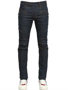 16cm Stretch Cotton Denim Biker Jeans