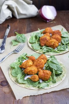 """Vegetarian buffalo cauliflower tacos are one of our favorite healthy dinners, my hubby-to-be likes to describe them as """"bomb-ass!"""" Dairy-free & gluten-free."""