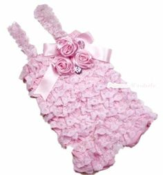 Baby Girls Light Pink Lace Petti Posh Romper Rosettes Crystal Rompers NB-12Month $13.99