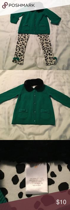 Gymboree outfit Green button down sweater with black faux fur collar. Pants are white and black. Pants are in good condition. Sweater is NWOT. Pet and smoke free home. Gymboree Matching Sets
