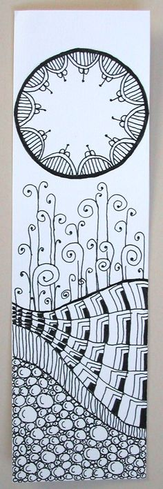 Zentangle bookmark by joanieponytail (on deviantart)