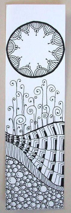 Zentangle bookmark by joanieponytail (on deviantart)