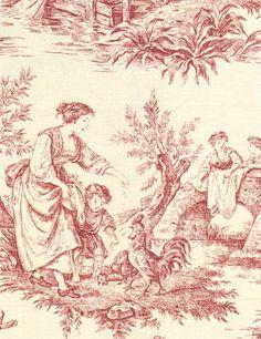 Provence Toile de Jouy Fabric Dark red scenic country toile de jouy design printed on a cream cotton.