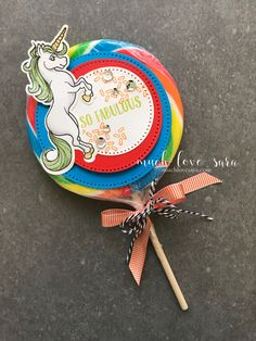 Super cute treat, would be perfect as a take home goodie for a kids fairy tale themed birthday party. Using the new Magical Unicorn stamps and dies from the Fun Stampers Journey Bloom This Way catalog.