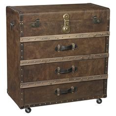 Steeped in antiqued appeal, this handsome chest showcases a trunk-inspired silhouette and timeless saddle brown finish.  Product: