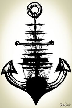 """"""" Sailing Ship and Anchor """" … by Sargent Illustration on Etsy"""