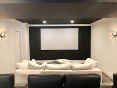 Eider White SW 7014 theater room! Eider White, Dark Accent Walls, Farm House Colors, Loft Ideas, Interior Stylist, Theater, Basement, Farmhouse, Space