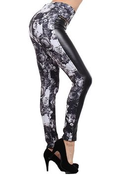 Split Floral Faux Leather Leggings - $34 at OnlyLeggings.com #OnlyLeggings