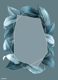 Hexagon foliage frame on blue background vector | premium image by rawpixel.com / busbus
