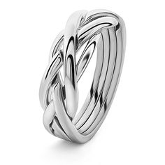 LADIES 4 band STERLING SILVER Puzzle Ring 4KNS