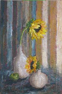 """Sunflowers and Stripes"" acrylic painting over a textured surface created using recycled materials such as fabric scraps, ground-up wine corks, and torn palette papers.  This painting is for sale at The Broadwell Cottage in historic Crabapple, near Alpharetta and Roswell, GA."
