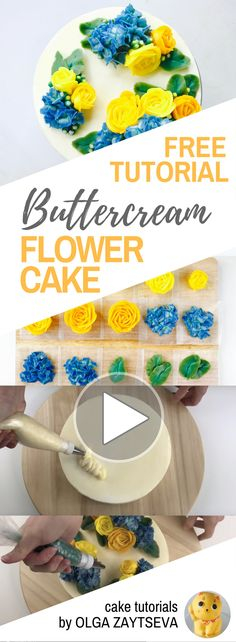 Yellow Roses and Hydrangeas flower clouds cake - how to make by Olga Zaytseva /CAKE TRENDS 2017 Buttercream Flowers Tutorial, Frosting Flowers, Buttercream Flower Cake, Cake Decorating Techniques, Cake Decorating Tutorials, Cookie Decorating, Bolo Floral, Floral Cake, Yellow Butter Cake