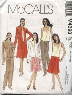 McCall's Sewing Pattern 4393 Misses Size 10-16 Wardrobe Lined Zipper Front Jacket Top Skirt Pants
