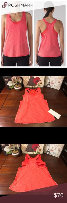 Lululemon Glide and Stride Tank-Alarming, 4-12 Lululemon Glide and Stride Tank-Alarming Orange, Sizes 4-12  Brand new with tag! ☺️ The color of this 2-in-1 tank is Heathered Alarming, which is a pretty orange color. It's a flowy tank with an included bra. The bra is intended for B and C cups. I have this in multiple sizes between 4 and 12, so please make your selection carefully.  Made of Seriously Light Luon and mesh. The bra is made with Luxtreme.   I do not trade. lululemon athletica Tops…