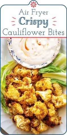 Air Fryer Crispy Cauliflower! Crispy cauliflower for the win, thanks to your air fryer! Make the cauliflower even tastier and crispier with spices, a little egg, and a light coating of breadcrumbs. Perfect as an appetizer or a side dish. #simplyrecipes #airfryer #cauliflower #easyside #gamedaysnacks #healthysnacks #appetizer #sidedish