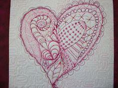 My Zen quilted heart.  Thank you to Pat Ferguson's Zen Quilting book.