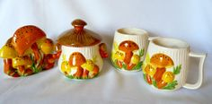 Vintage Arnel's Ceramic Mushroom Napkin Holder, Sugar Canister, 2 Coffee Mugs