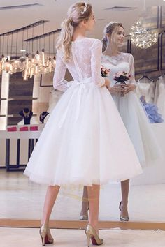 Tea-length Wedding Dresses New Sleeve White/Ivory Lace Bride Gown Custom Short Girl Wedding Dress, Wedding Dresses For Girls, Elegant Wedding Dress, Tulle Wedding, Bridal Wedding Dresses, Cheap Wedding Dress, Short Bridal Dresses, Tea Length Wedding Dresses, Wedding Veil