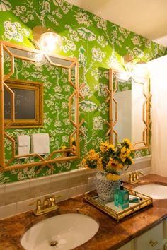Kids' Chinoiserie Bathroom. Meg Braff Up the Tree Wallpaper. Cedar & Moss Alto Sconces, Serena & Lilly Mirrors. OneRoomChallenge Photos by Rachel Olsen Photography