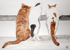 Curious cats- original ink and watercolor mixed technique, original brush drawing on fine quality watercolor paper, 18x24 inch paper.    For shipping I