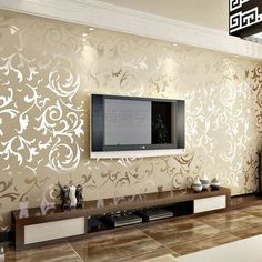 Embossed Patter Surface Flocking Wallpaper Beige Color Damask Sand Shining Luxury 33 Ft X 1.74 Ft European Style Whitout Glue