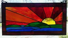 Sunset Stained Glass Window Panel Large by SuzanneEmerson on Etsy, $116.75