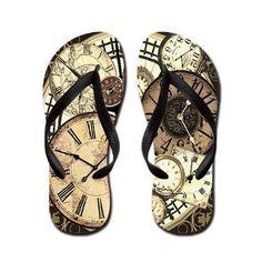 Clock Flip Flops #fashion #shoes