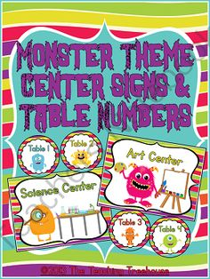 """These adorable center signs and table numbers will go great with any monster theme classroom décor! Included are full size center signs(7.5x10 inches), mini center signs(5x7 inches), and table numbers in 2 sizes(6.5"""" and 3"""" diameter). 8 center signs- Science, Reading, Math, Writing, Computer, Listening, Art, and Word Work, and table numbers 1-6. $"""