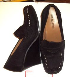 WOMENS/JUNIORS BLACK SUEDE WEDGE SHOES SIZE 7  #HIGHLIGHTS #PlatformsWedges