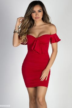 16a79d1757 Bodycon Off Shoulde Flutter Sleeve Ruched Red Mini Dress Club Dresses