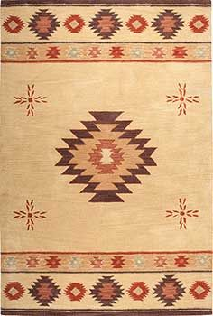 Medallion Southwestern Rug in Santa Fe style. With golden tan, dark brown, terra cotta, copper and sage green. Hand tufted in soft wool. Sizes up to 10' x 13'. Perfect in Southwestern, Santa Fe style or Western homes or interiors with Native American style. Golden-Tan-SU2007