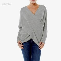Stylish Women Autumn and Winter Tops V-Neck Drop-Shoulder Wrap Pullover Sweaters